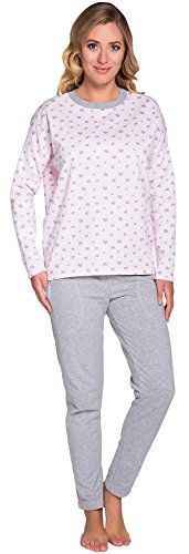 Italian Fashion IF Pigiami Due Pezzi per Donna Aster 0223 (Rosa/Melange, S)