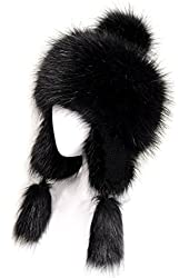 Futrzane Faux Fox Fur Winter Trapper Pompom Ears Hat Women Trapper Russian Style Hat Cossack