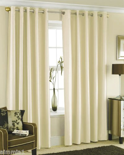 CREAM FAUX SILK LINED CURTAINS WITH EYELET RING TOP 66 x 72