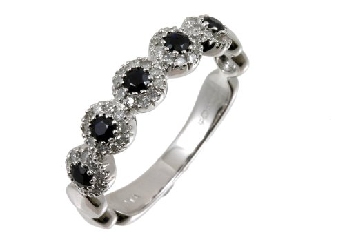 Eternity Ring, 9ct White Gold Diamond and Sapphire Ring, Pave Set