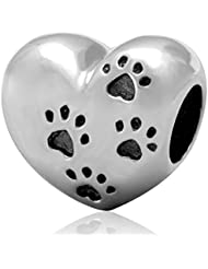 My Sweet Pet Paw Print Charm 925 Sterling Silver Heart Bead For European Brand Bracelet Compatible