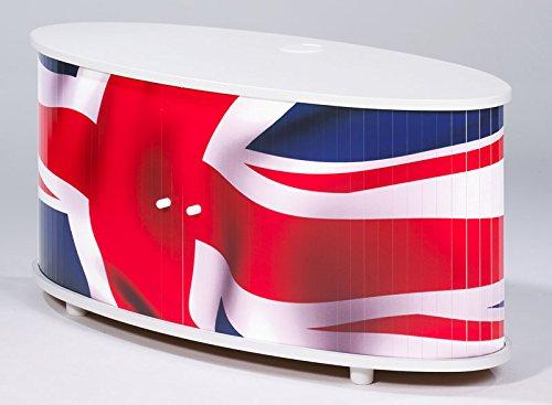Meuble TV - London - Drapeau anglais - Blanc