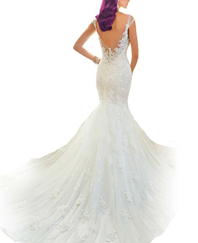 AbaoWedding Women's Sleeveless Mermaid Wedding Dress Long White (size12)