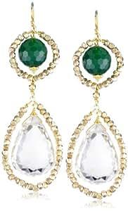 "Amanda Rudey ""Divas and Heroines"" Emerald Jade Lily Earrings"