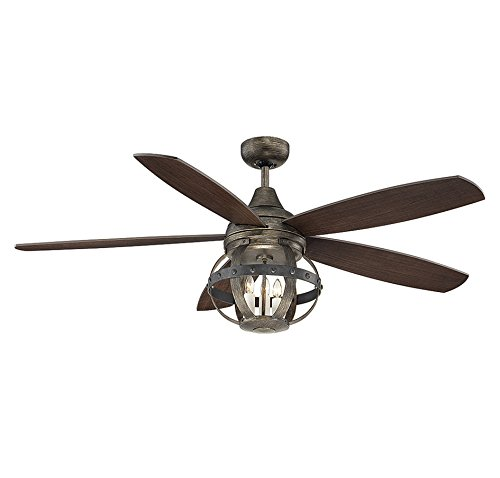 Savoy House Lighting 52-840-5CN-196 Alsace 3 Light 5-Blade Damp-Rated Ceiling Fan with Chestnut Blades, 52-Inch, Reclaimed Wood Finish (Savoy House Alsace compare prices)