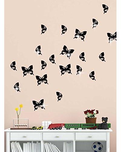 Ambiance Live Vinilo Decorativo 20 Piezas Butterflies x15 Swarovski Elements® Negro