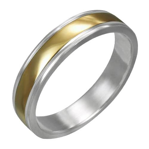 Mission Stainless Steel 2 Tone Gold Plate Ribbed Band Ring  Size 10