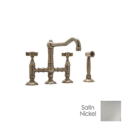 Rohl A1458LPWSSTN-2 Country Bridge Kitchen Faucet with Spray Satin Nickel Porcelain Lever