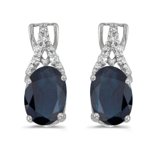 14k-White-Gold-Oval-Sapphire-And-Diamond-Earrings