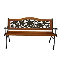 Rose Bloom Metal Park Bench - Cast Iron Bench for Yard or Garden Product SKU: PB20006