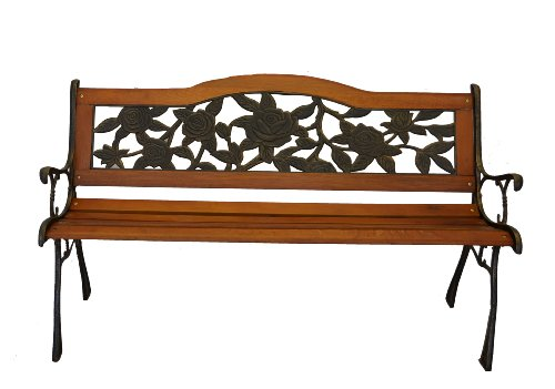 Rose Bloom Metal Park Bench – Cast Iron Bench for Yard or Garden Product SKU: PB20006