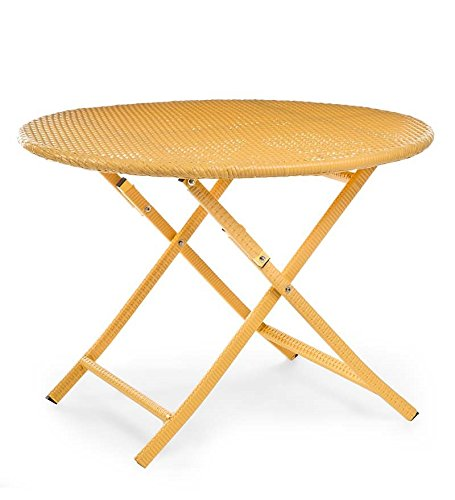 Colorful Wicker Folding Dining Table, In Yellow