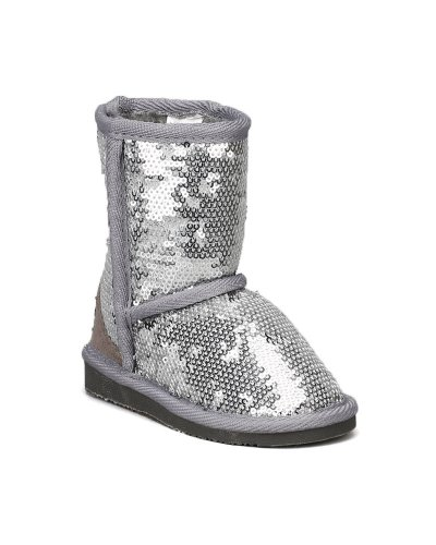 Jelly Beans Sammy Sequin Round Toe Furry Inner Lining Boot (Toddler) - Silver (Size: Toddler 5) front-159388