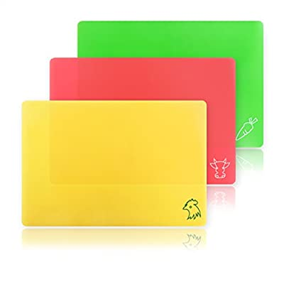 New Star Foodservice 28690 Flexible Cutting Board, 9.5-Inch by 14-Inch, Assorted Colors, Set of 3