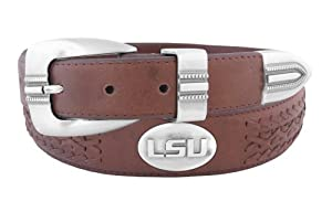NCAA LSU Tigers Full Grain Leather Braided Concho Belt by ZEP-PRO