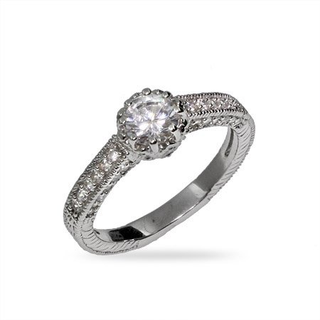 Beautiful Heirloom CZ and Sterling Silver Engagement Ring Size 6 (Sizes 5 6 7 8 9 Available)