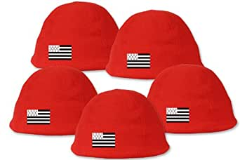 Lot de 5 bonnets rouges polaires - Brodé drapeau Breton - Lot n°6
