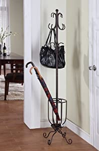 Copper Bronze Finish Metal Coat Rack With Umbrella Stand Holder