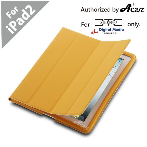 Acase(TM) EZ-Carry Polyurethane Case (ULTRA SLIM) Folio Stand for Apple iPad 2 2nd Generation WiFi / 3G Model 16GB, 32GB, 64GB NEWEST MODEL (Orange)