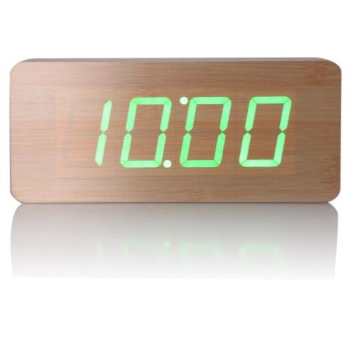 Vktech Bambus Design Wecker Digital Grün LED Kalendar Thermometer
