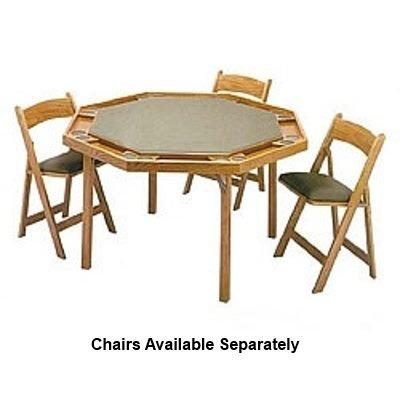 "52"" Oak Contemporary Folding Leg Poker Table"