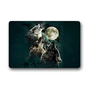 Custom machine washable door mat wolf with moon doormat for Door mats amazon