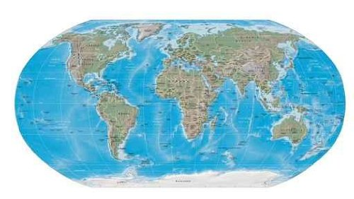 Content Wall Decals World Map Physical Boundaries - 18 Inches X 10 Inches - Peel And Stick Removable Graphic front-787679