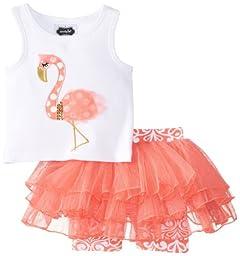 Mud Pie Baby-Girls Newborn Flamingo Skirt Set, Pink, 0-6 Months
