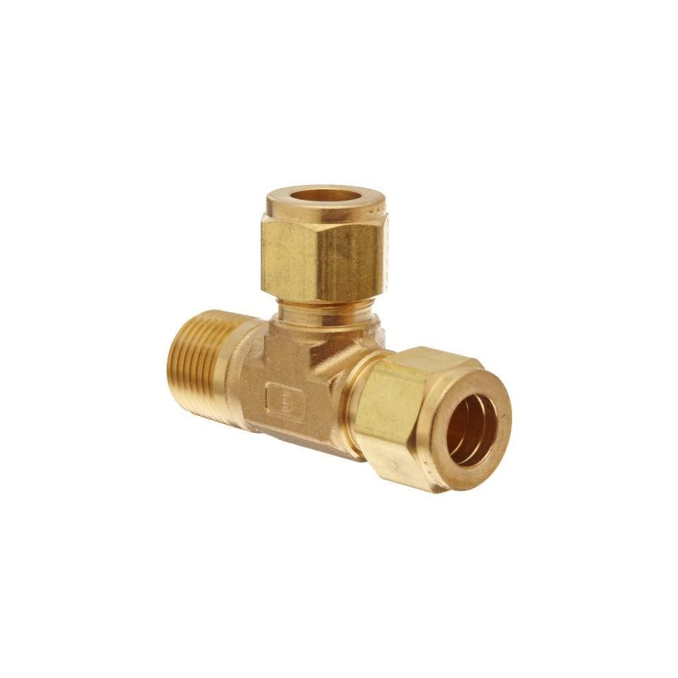 Parker A Lok 4MRT4N B Brass Compression Tube Fitting, Run Tee, 1/4 Tube OD x 1/4 Tube OD x 1/4 NPT Male