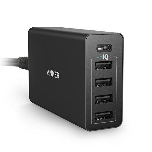 Anker PowerPort 5 USB-C (40W 5ポート USB/USB-C 急速充電器) iPhone / iPad / Xperia / Android各種 / Nexus 5X, 6P 他対応 USB-Cポート搭載 【PowerIQ & VoltageBoost搭載】 A2052511