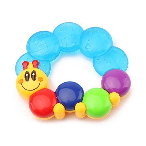Wishland Water Filled Teethers for Babies Activity Sensory Teethers Rattle Toy Caterpillar