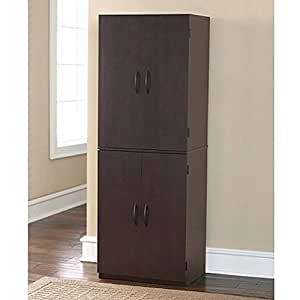 Large Brown Espresso Storage Cabinet For Home Kitchen Pantry Office Classroom