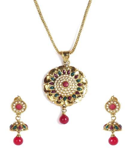 Shining Diva Floral Ethnic Jhumki Pendant Necklace Set For Women