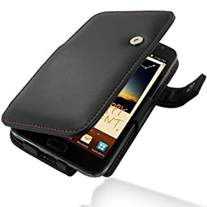 PDair Leather Case for Samsung Galaxy Note GT-N7000 - Book Type (Black/Red Stitchings)