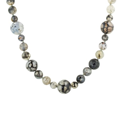 Multi-Size Faceted Grey Agate Bead Endless Necklace, 62