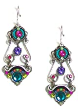 Firefly Sterling Silver Elaborate Spiral Swarovski Crystal and Czech Bead Dangle Earrings in Multi-Color
