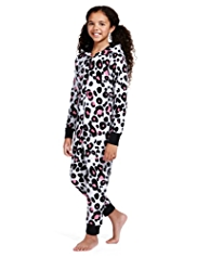 Hooded Leopard Print Fleece Soft & Cosy Onesie