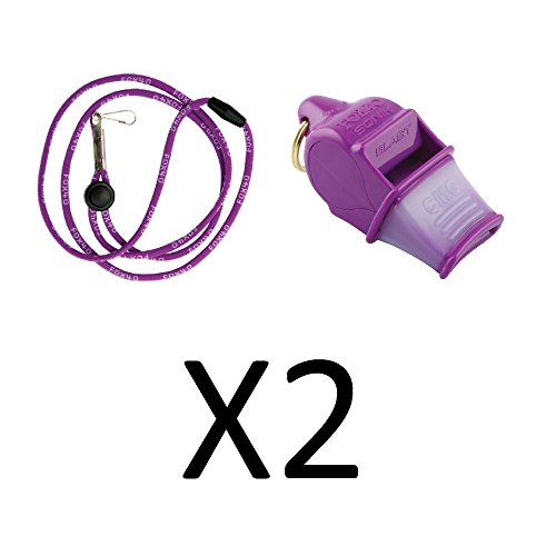 Tide Rider Fox 40 Sonic Blast CMG Whistle w/ Lanyard Referee Dog Purple (2-Pack) (Blast Whistle compare prices)