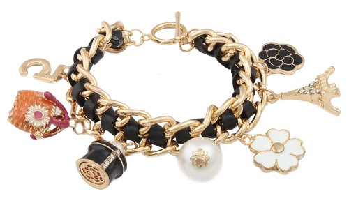 Goldtone With Black & Multicolors Dangling Assorted Charms 8 Inch Braided Cuban Toggle Bracelet