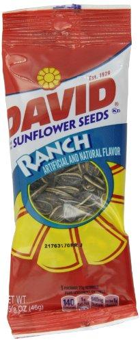 David Sunflower Seeds, Ranch, 1.625-Ounce Unpriced Tubes (Pack Of 12)