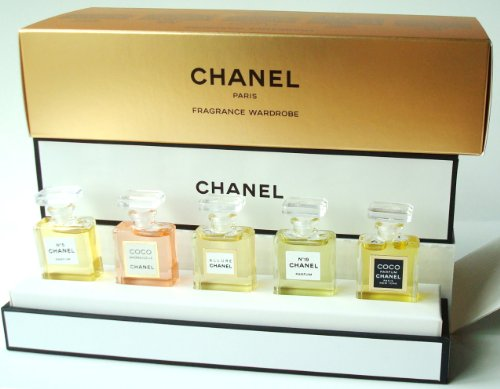 CHANEL FRAGRANCE WARDROBE MINIATURE GIFT SET of 5 Five PARFUM CHANEL No 5 COCO MADEMOISELLE ALLURE No 19 and COCO CHANEL 0 12 FL OZ 3 5 ml EACH PERFUM