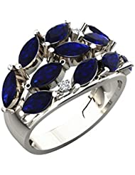 Sparkles .925 Sterling Silver, Diamond And Blue Sapphire Ring