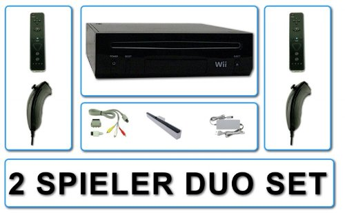 Nintendo Wii Konsole Schwarz NEU + 2 DT Remote Plus + 2 Nunchuk + Netzteil + Kabel + Sensorleiste