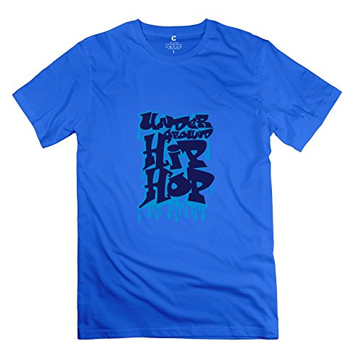 Hip Hop Graffiti Men 100% Cotton T Shirt Royalblue X-Small
