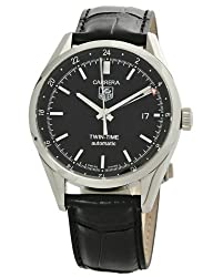 TAG Heuer Men's WV2115.FC6180 Carerra Calibre 7 Twin Time Automatic Black Dial Black Crocodile Watch