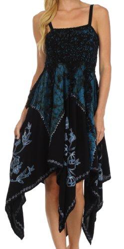 Sakkas Amara Batik Handkerchief Hem Dress