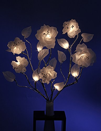 Lightshare™ New 24Inch 12Led Rose Branch Light,Warm White Light,Timer,Battery Powered For Home Decoration