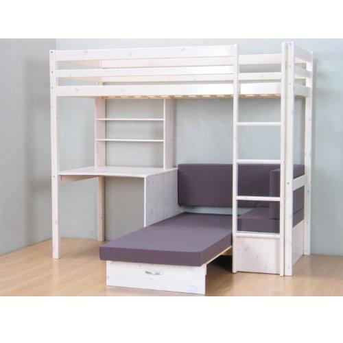 Thuka Hochbett, 90×200 Bett weiss inkl. Matratze grau und Lattenrost kaufen