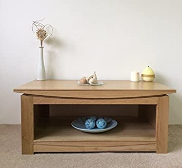 Matlock Solid Oak Coffee Table with Shelf - Natural Clear Lacquer - Matlock Oak Collection