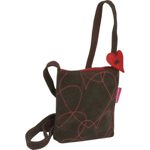 Miquelrius Agatha Ruiz De La Prada Hearts Suede Small Bag (Brown)